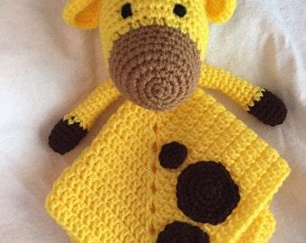 Giraffe lovey, giraffe security blanket, giraffe blanket, baby shower gift