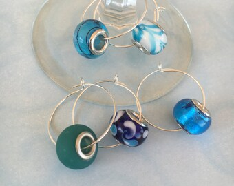 Blue Glass Wine Charms - Set of 5
