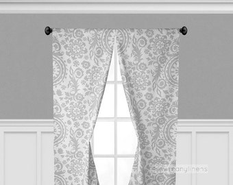 Gray Curtains Floral Drapes Grey Window Treatments Panels Valance Living Room Kitchen Decor Grey Curtain