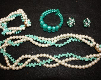 Vintage green and white jewelry collection
