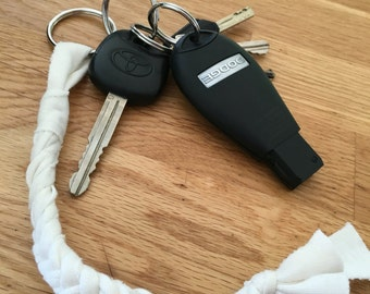 Braided jersey Keychain / fabric Keychain key holder/recycled fabric/door key fabric braided/door key made by hand/keychain