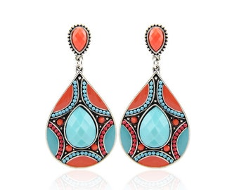 Red And Turquoise Tribal Earrings