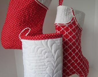 Christmas Stocking, White Stocking, White Christmas Stocking, Quilted Stocking, White Quilted Stocking, Feather Quilted Stocking, Classic