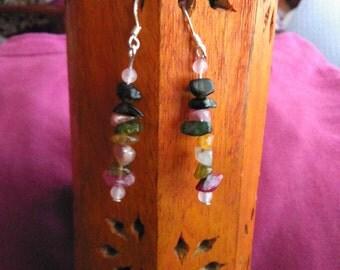 Multi-color tourmaline and Rose Quartz earrings