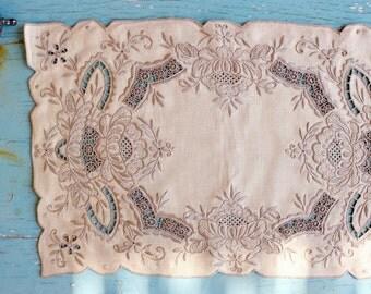 Linens, Dinner Place mat Set 4, Fine Dining, Greek Needlework & Cutwork, ca. 1950's, Handmade, Ecru/Pale Gray, 10.5'' x 16.5''