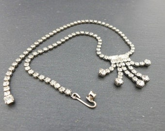 Vintage prong-set long deco style rhinestone necklace