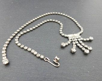Vintage prong-set long deco style rhinestone necklace