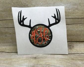 Deer Antlers Monogram Applique, Deer Antlers Monogram Embroidery Design