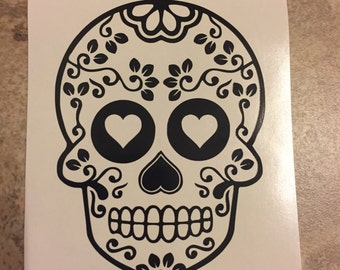 Floral Sugar Skull Decal, Tervis/Yeti/Rtic Cup Decal/ Laptop Decal/ Car Decal, Sugar skull, Skull decal, Floral decal, Day of the Dead