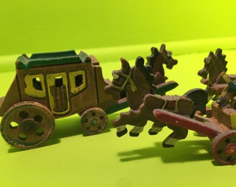 Hand Carved Wooden Knick Knack Stage Coach (Group of 3) Japanese 1930-1950s