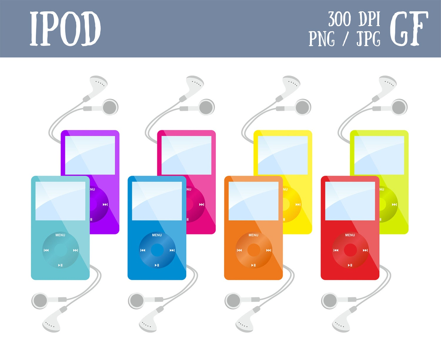 ipod colorful clip art mp3 players clipart music digital