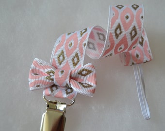 Girl Pacifier Clip | Pacifier Strap | Toy Strap | Ready to Ship |Pink Silver Pacifier Strap | Binky Clip| Baby Gift