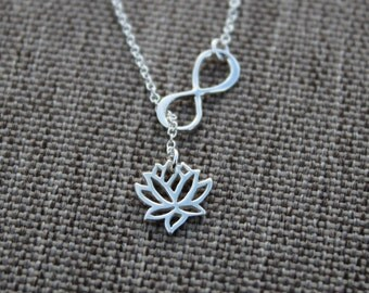 925 Sterling Silver Lariat necklace / Infinity Lotus Flower Lariat necklace / Zen Infinity lariat Y necklace