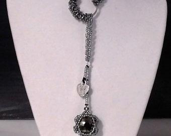 Beaded Lariat Necklace- Metallic Black