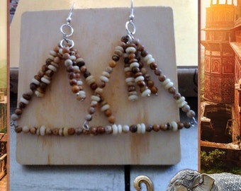 Earrings stonebead triangle, Woodenlook earrings,Triangle earrings, Dangle earrings,