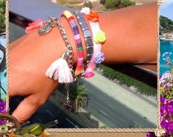 Boho friendship tassels & charms cuff  Multi color bracelet, Modern design Ibiza style bracelet