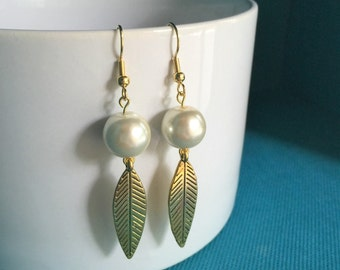 Gold and Pearl Earrings, Leaf Earrings, Pearl Beaded Gold Leaf Earrings, Gold Leaf Earrings, Feather Earrings, Hypoallergenic