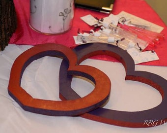 Decorative Wood Hearts!  Purple and Red