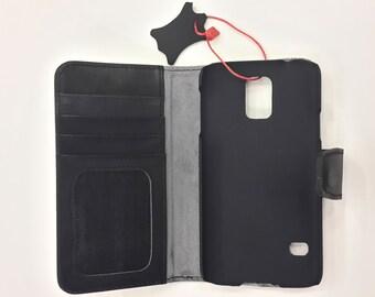 Genuine leather S5 Bookcase Magnet Close Flip Cover Folio Case Book Case Wallet Case BLACK