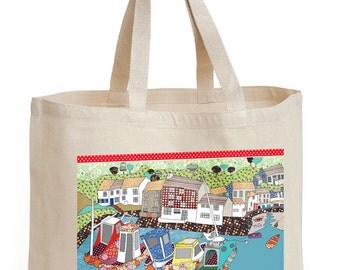 Shopping bag, Harbor Design, Shopper, Tote,  By the Harbour/Harbor Wall,  8oz cotton canvas.