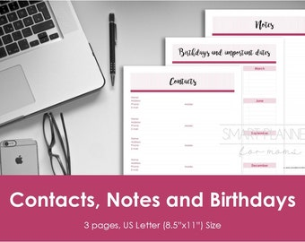 Contacts planner insert, printable, notes, birthday inserts. US Letter Size, Portrait. Instant download. PDF & JPEG format. High resolution