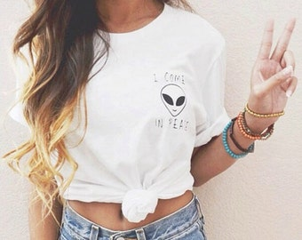 I Come In Peace White Tee