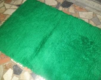 green shaggy tulu rug oriental turkish rug hanmade  wool decorative