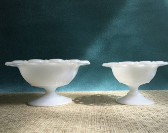 2 Milk Glass Compotes with Lacework Edges