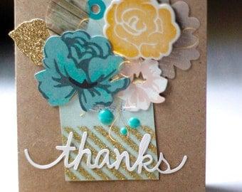 Thank you   Floral   Metallic   Thanks  Handmade greeting card