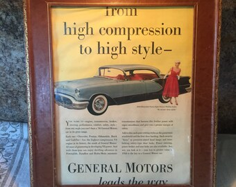 Vintage 1956 Oldsmobile Ninety-Eight Ad/Princess Grace Wedding Article in Leather Frame