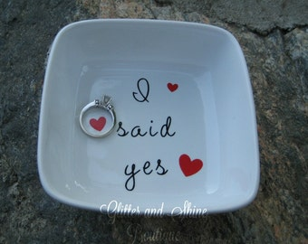 I said Yes, Ring Dish, Engagement gift, bridal shower gift, bride to be, bride, wedding gift, Ring Dish
