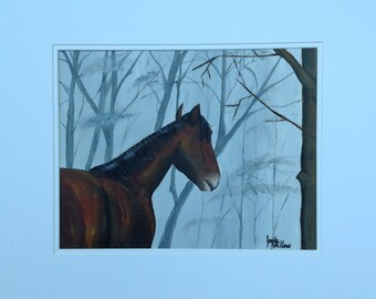 Original acrylic painting of brown horse