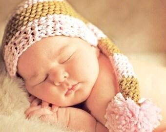 Newborn Elf Hat, Baby Girl Elf Hat, Pink Elf Hat, Striped Elf Hat, Knit Elf Hat, Newborn Baby Prop Hat