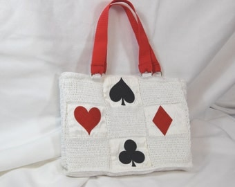 Handbag with embroidery game icons heart spade diamonds cross in red and black lined with pure dupioni silk purse with playing cards