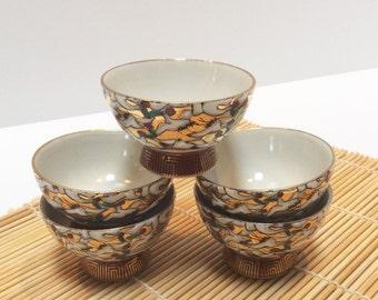 Kutani 1000 Cranes Tea Cups, Asian Tea, Sake, Wine cups. Hand painted Cranes, Gilt, Stamped.