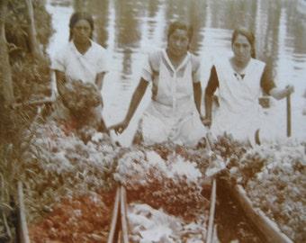 Antique 1920's  Real Photo Postcard Post Card Mexico RPPC Xochimilco 3 Girls Black & White image
