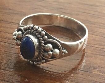 Lapis Lazuli 925 Sterling Silver Ring- Size L / M