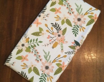 Changing pad cover or fitted crib sheet in Blush Springs  Pack and Play sheet, mini crib sheet