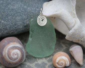 Large aqua seaglass pendent with swirl