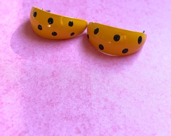 Vintage Yellow Poka-Dot Earrings