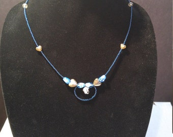 Navy Blue and Caged Quarts Necklace