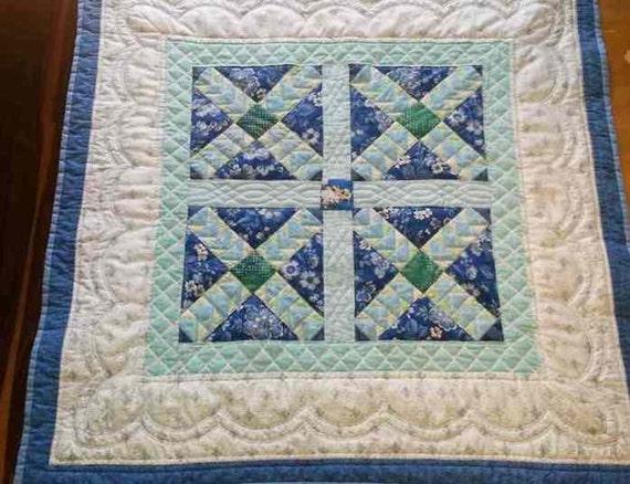 Handmade Baby quilt Blue aqua and white Baby Blanket : blue baby quilt - Adamdwight.com