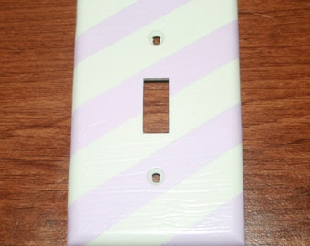 Lavender and white light switch cover