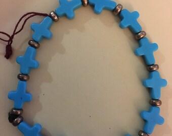 Blue Cross Bead Bracelet