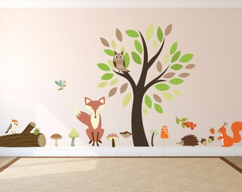 Childrens bedroom wall stickers - kids wall decals for bedroom or playroom - tree wall sticker - animal wall decals - 'woodland wonders '