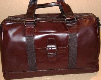 Waxy leather duffel bag