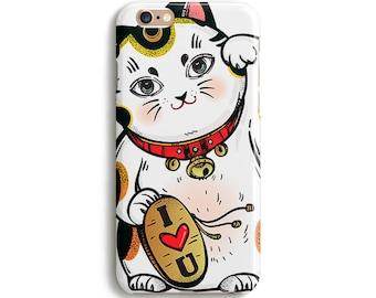 Lucky cat I love you iPhone case, Samsung Galaxy case, Samsung note case, iPhone 6, iPhone SE, Samsung galaxy S6 case 1C026B