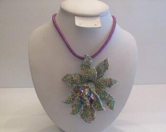 Unbelievable stunning massive vintage rhinestone flower pendant/brooch on cord
