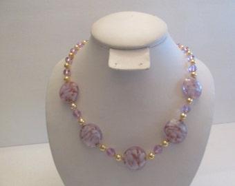 Vintage Venetian Swirled Lavender Glass Bead Necklace