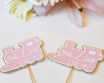 Pink train cupcake toppers // girl train cupcake toppers// train food picks // girls first birthday // train cake topper // girl train party